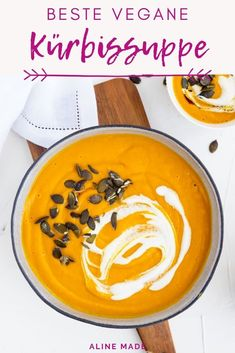 A delicious creamy pumpkin ginger soup recipe. This vegan pumpkin soup makes a perfect healthy comfort dish for cold fall days. Let me show you how to make this easy dairy free pumpkin soup and top it with vegan cream and pumpkin seeds for a perfect fini Pumpkin And Ginger Soup, Vegan Pumpkin Soup, Vegan Soup, Pumpkin Recipes, Pumpkin Cream Soup, Pumpkin Pumpkin, Pumpkin Dessert, Healthy Soup Recipes, Vegan Recipes Easy