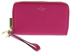 Kate Spade Grey Street Tiera Pebbled Leather Double Zip Wristlet Wallet Phone Case (Sweetheart Pink) *** Click image to review more details.