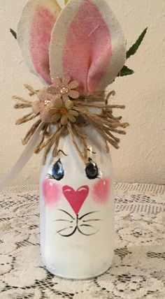 Easter Decor Country Home Bunny Lover Housewarming Gift Prim Easter Bunny Jar Country Kitchen Burlap Decor Holiday - Bunny UpCycledJar. Easter Decor Country Home Bunny Lover Housewarming Gift Prim Easter Bunny Jar - Easter Art, Hoppy Easter, Easter Bunny, Easter Eggs, Bunny Crafts, Easter Crafts For Kids, Easter Ideas, Rabbit Crafts, Dog Crafts
