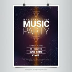 Modern music party poster with geometric shapes Free Vector Graphic Design Services, Graphic Design Posters, Banner Design, Flyer Design, Flyer Inspiration, Work Inspiration, Award Poster, Instagram Banner, Music Party