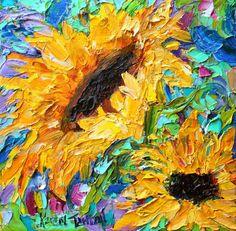 Original oil painting #Sunflower Dance Palette by Karensfineart