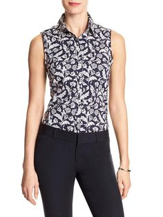 Banana Republic Factory - Print Poplin Sleeveless Tailored Shirt in black/white (petite, regular) | cotton and lycra, tailored fit in a sleeveless silhouette.