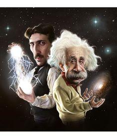 Physicists Need Love Too: Tesla and Einstein. Ufo, Nicola Tesla, Little Paris, Caricature Artist, Marie Curie, Celebrity Caricatures, Friedrich Nietzsche, Physicist, Picture Day