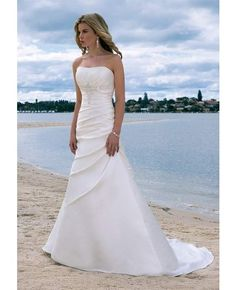 Draped Strapless Chapel Train A-line Wedding Dress #Wedding #Dress