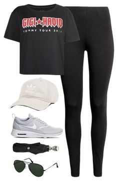 """""""OOTD 1.7.18"""" by magsmccray on Polyvore featuring adidas, NIKE, Tommy Hilfiger, Alexander McQueen and Ray-Ban"""