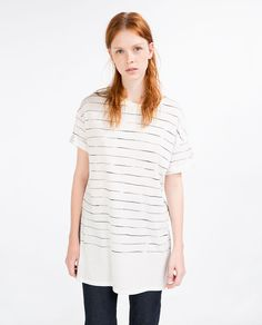 Image 2 of LONG STRIPED T-SHIRT from Zara