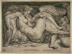 Full: Front Leda and the swan, after Michelangelo; Leda is entwined with Jupiter, disguised as a swan, with a large egg at lower left Engraving © The Trustees of the British Museum Miguel Angel, Swan Pictures, Old Master, Michelangelo, British Museum, Erotic Art, Magick, Art Drawings, Original Art