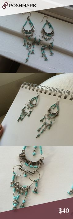 LUCKY BRAND Turquoise Earrings Beautiful beaded turquoise blue chandelier earrings. Hammered silver, very boho chic, very southwest/ LA blogger style  Lucky Brand Jewelry Earrings