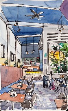 urban sketch - interior cafe