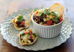 Black Bean, Corn and Avocado Salsa in Homemade Tortilla Cups (food, recipe, appetizer)