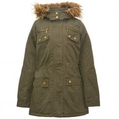 Yoki Big Girls Olive Gold Snap Button Zipper Faux Fur Trim Hooded Coat 7-16