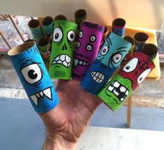 The many faces of a toilet paper roll...fun!!  could be a fun halloween art project in classroom with all of my classes! would have like 130 tubes can could hot glue them together to make a long row down the hallway!