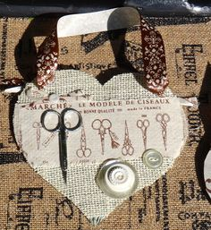 Tin Heart, White Heart, Door Hanger, Sewing, Seamstress, Assemblage, French Country, Collage Art, Decoupage, Burlap Collage, Rustic, Fabric by CasaKarmaDecor on Etsy