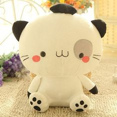 cute cat pillow - Stuffed Short Plush Shaped Big Cat Face Large Pillow Cushions Nap Doll Home Essential (40cm Tall, Black & White) >>> You can find out more details at the link of the image. (This is an affiliate link) #CuteCats