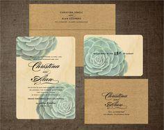 Succulent Wedding Invitations Kraft Garden Birch Wood Invitation sarasofiacouture ETSY