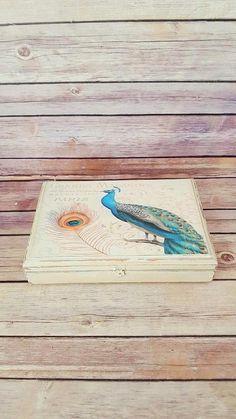 $45 Wood Jewelry Cigar Box  Peacock Jewelry Box  Cigar Box