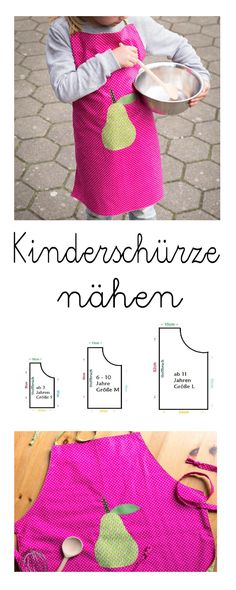 Sewing For Kids, Free Sewing, Bra Storage, Childrens Aprons, Sewing Aprons, Arm Warmers, Free Pattern, Kindergarten, Sewing Projects