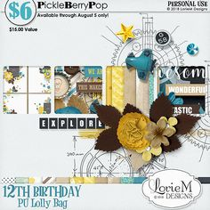 Lolly Bag 1 - PU {by LorieM Designs} Birthday Bag, Happy Birthday, Lolly Bags, Bags 2018, Birthday Celebration, Digital Scrapbooking, How To Make, Design, Products