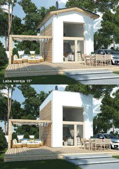 Laba wersja A - wariant z dachem 15 stopni i z płaskim. Całoroczny dom letniskowy o niebanalnej formie. Idealne rozwiązanie dla znudzonych wiejskimi chatkami i dla miłośników modernizmu.   #domowy #domowypl #letniskowy #malydom #nowoczesny #działka #wakacyjny #całoroczny #bezpozwolenia #superdom
