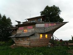 What looks rather like Noah's Ark is actually a ship house in Borovoy, Russia. Owner and builder Nikolay claims the idea for this 29-foot-high, 45-foot-long house came to him in a dream. He started on July 7, 2007 and constructed the three-bedroom house without any architectural drawings. Since then, it has received much attention - and admiration.