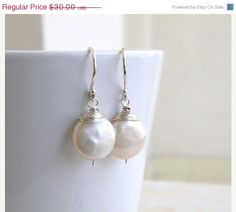 15 Off SALE Wedding Jewelry Bridal Pearl Earrings by SomsStudio, $25.50