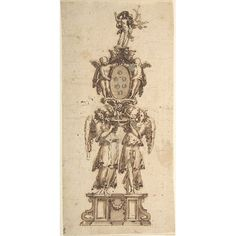 Design for a (Temporary) Structure consisting of Two Angels carring the Medici Coat of Arms crowned by the Figure of Christ Poster Print by Anonymous Italian to early century x Italian Interior Design, Temporary Structures, Coat Of Arms, 17th Century, Anonymous, Christ, Poster Prints, Angels, Art