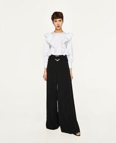 Image 1 of WIDE TROUSERS WITH BUCKLED WAIST from Zara