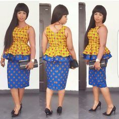 Latest Ankara Skirt And Blouse Styles In Nigeria 2016 To have lovely and beautiful Ankara fabric is entirely different to making the best Ankara style from it. When we are talking of Ankara designs, Nigerian women African Print Dresses, African Print Fashion, Africa Fashion, African Fashion Dresses, African Dress, Ankara Fashion, African Clothes, Fashion Outfits, Ghanaian Fashion