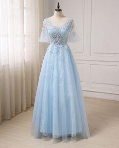 Blue tulle V neck see through long prom dress, long evening dress with sleeves #prom #dress #promdresses