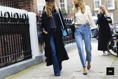StreetStyle of Alexandra Carl and Pernille Teisbaek during London Fashion Week Spring Summer 2016.