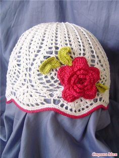 Litte girl's rose crochet beanie hat