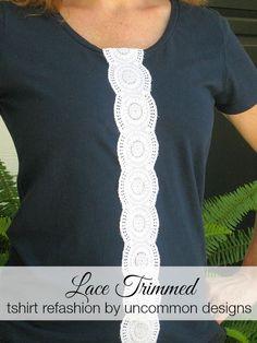 Lace Trimmed Tshirt Refashion - Uncommon Designs