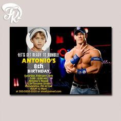 John Cena Royal Rumble WWE Birthday Party Card Digital Invitation With Photo