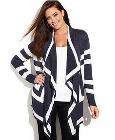 INC International Concepts Plus Size Long-Sleeve Draped Colorblock Cardigan - INC International Concepts - Plus Sizes - Macy's