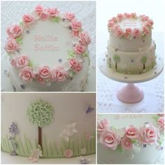 Created for one of our lovely couples who were married in 2012 and came back to us to create Hollie's Christening cake. The garden scene was important as Hollie's dad is a gardener and the decoration to the top tier included holly leaves and. Pretty Cakes, Cute Cakes, Beautiful Cakes, Fondant Cakes, Cupcake Cakes, Birthday Cakes For Women, Cake Birthday, Birthday Ideas, Garden Cakes
