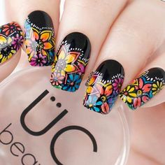 That's why we're bringing you our series -- where we show you the simple nail art, endless nail design ideas and other ridiculously pretty nails that we're finding and loving. Flower Nail Designs, Acrylic Nail Designs, Nail Art Designs, Cute Nails, Pretty Nails, Hair And Nails, My Nails, Mexican Nails, Burgundy Nails