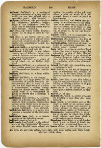 Free Vintage Image ~ Dictionary Page Includes words: Hallelujah, Hallow, Halloween, Halo and Ham