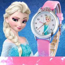 Hot Sales Lovely Children Cartoon Watch Princess Elsa Anna Leather Strap quartz Watch Boys Girls Baby Birthday Gift Wristwatches(China)
