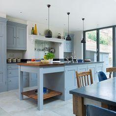 Küchen Küchenideen Küchengeräte Wohnideen Möbel Dekoration Decoration Living Idea Interiors home kitchen - Blau grau Küche mit Kochinsel