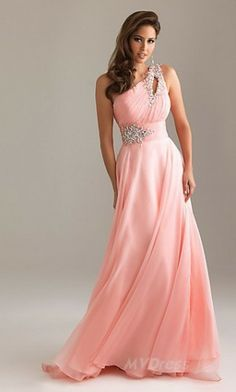 Floor Chiffon Dress One-Shoulder Lavender Dress MV234750