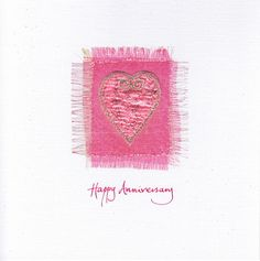 A curly heart stitched onto layers of satin, organza and Angelina fibers then placed onto a printed frayed background finished with glitter. #AnniversaryCard #EmbroideredCard