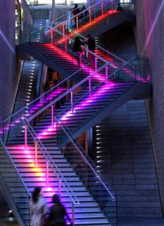 lines / neon / stairs Stair Lighting, Event Lighting, Neon Lighting, Led Light Design, Lighting Design, Estilo Interior, Led Light Fixtures, Neon Aesthetic, Take The Stairs