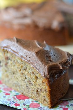 """Banana Cake with Nutella Buttercream ~~ """"This cake is my all time favorite cake on the blog!"""""""