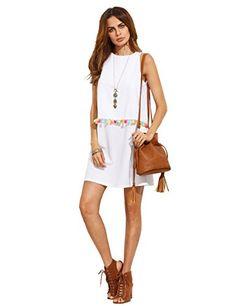 df8d9fa52020 ROMWE Womens Round Neck Tassel Trim Sleeveless Mini A-line Dress at Amazon  Women s Clothing