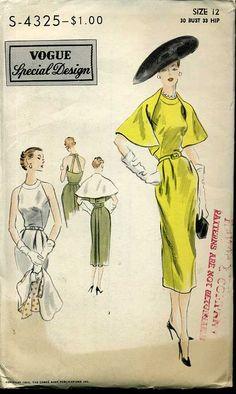 Vogue pattern dress and cape Vintage Ladies, Retro Vintage, Vintage Soul, Vintage Dresses, Vintage Outfits, Retro Fashion, Vintage Fashion, Vintage Vogue Patterns, Dress Drawing