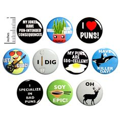 Pun Buttons 10 Pack Pins for Backpacks Jackets or Fridge Work Jokes, Work Humor, Bad Puns, Funny Puns, Animal Puns, Animal Food, Funny Buttons, Pun Gifts, Love Puns