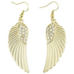 Gold Polished Wing Rhinestone Dangle Earrings ($5.99) ❤ liked on Polyvore featuring jewelry, earrings, gold, gold pendant, wing earrings, dangle earrings, long earrings and rhinestone pendant