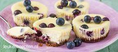 Lekkere kleine mini cheesecakejes met frisse blauwe bessen en een bodem van Bastogne
