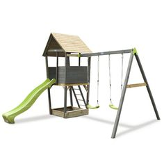 EXIT Aksent Playtower with nest swing, slide and a sandbox! The refreshing green/black colour of the nest swing and the grey woodwork will also look lively in your garden!