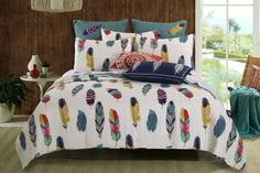 Colorful feathers billow on the breeze in the Dream Catcher quilt set. Let the Western wind summon the peaceful spirits of slumber. Face print features red, cro